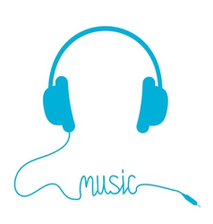 Blue headphones with cord in shape of word Music vector image
