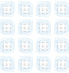 Blue linear leaves and rectangles seamless vector