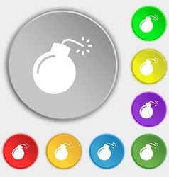 bomb icon sign Symbol on eight flat buttons vector image