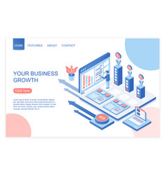 business development and growth isometric landing vector image
