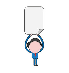 Businessman character holding up blank paper vector