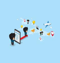 Businessman enter smartphone to explore world map vector