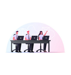 characters sitting at office desk with laptops vector image