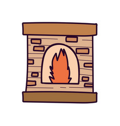 Chimney bricks flame decoration icon vector