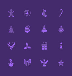 christmas linear icon set vector image