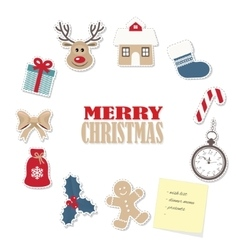 Christmas round frame from paper cutout stickers vector image