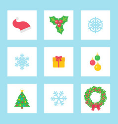 christmas wreath and present in decorated box vector image