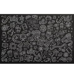 Cinema movie film doodles hand drawn chalkboard vector image