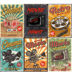 cinema set posters vector image