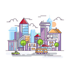 city street with tall houses and cars vector image