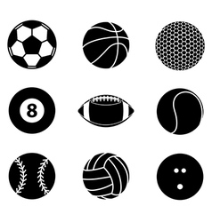collection sport ball icon black and white vector image