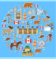 Country canada travel vacation places and features vector