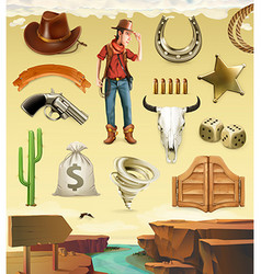 Cowboy cartoon character and objects Western vector
