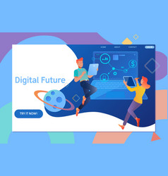 creative website template design of digital future vector image