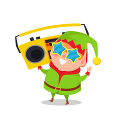 Cute elf in star shape glasses cassette recorder vector