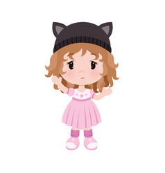 cute little baby girl in dress hat with vector image
