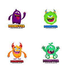 cute monster logo template funny monster logo vector image