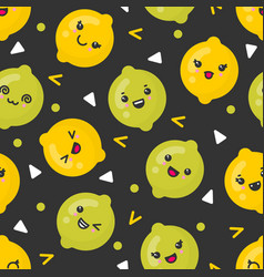 cute smiling lemon and lime fruits vector image