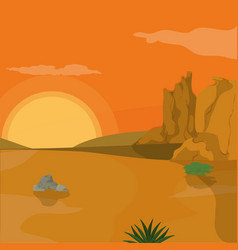 Desert landscape cartoon vector