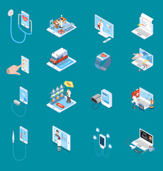 Digital mobile health isometric icons vector