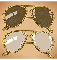 engraving sunglasses retro vector image