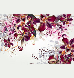 Fashion with watercolor tropical orchids vector