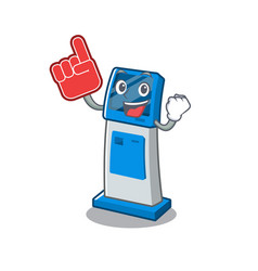 Foam finger digital information cartoon kiosk next vector