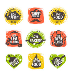 Food doodle logo restaurant kitchen badge cafe vector