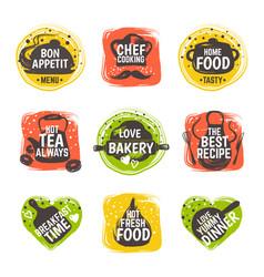 food doodle logo restaurant kitchen badge cafe vector image
