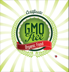 gmo free certificate green badge vector image