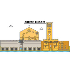 Greece rhodes city skyline architecture vector
