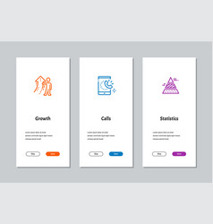 Growth calls statistics onboarding screens vector