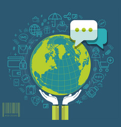 human hands holding earth with social media icons vector image