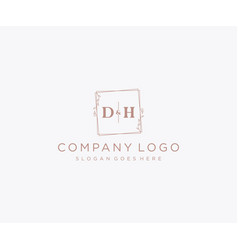 Initial dh letters decorative luxury wedding logo vector