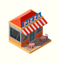 isometric of a pizza place vector image