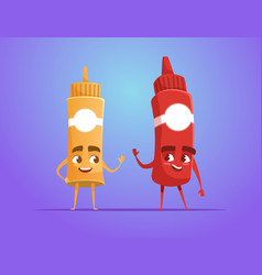 ketchup and mustard waving hand vector image