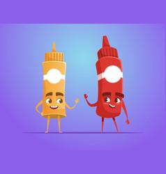 Ketchup and mustard waving hand vector