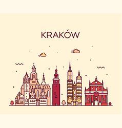 krakow skyline poland trendy linear city vector image