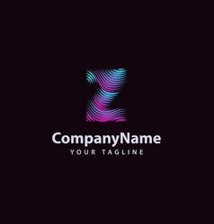 letter z modern wave line logo design template vector image