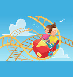 Man and woman on roller coaster flat vector