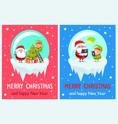 merry christmas elf on ladder vector image