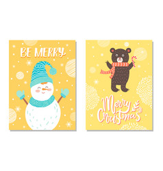 merry christmas postcard with smiling snowman card vector image