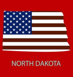 North dakota state of america with map flag print vector