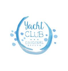 original yacht club logo template in blue color vector image