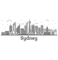 Outline sydney australia city skyline with modern vector