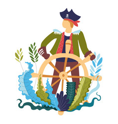 pirate wooden steering wheel captain ship vector image