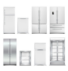 refrigeration cabinets realistic set vector image