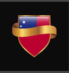 Samoa flag golden badge design vector