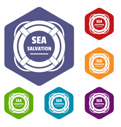 Sea salvation icons hexahedron vector