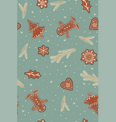 seamless pattern with gingerbread and twigs vector image